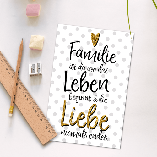 Postkarte - Familien-Liebe