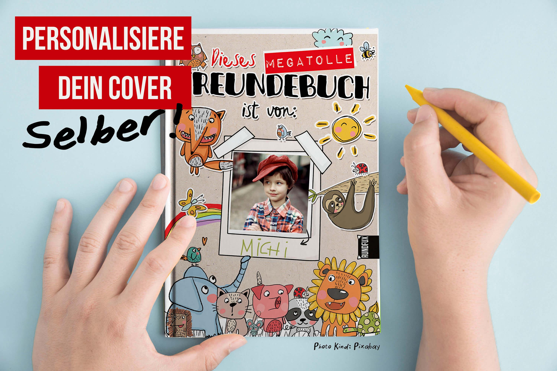 Hier sehen sie ein Werbebild mit Erklärung der personalisierbaren Cover von Rundfux